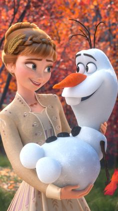 Anna and Olaf the Snowman about to share a nice warm hug from Frozen 2 Disney Frozen Olaf, Frozen Art, Frozen Movie, Frozen Wallpaper, Disney Phone Wallpaper, Disney E Dreamworks, Disney Pixar, Disney Princess Pictures, Disney Pictures