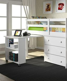 I love this idea for saving space! Another great find on #zulily! White Loft Work & Storage Bed by Donco Kids #zulilyfinds
