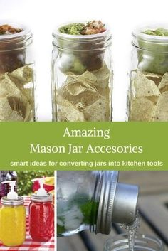 There is a world of accessories out there to mod a mason jar. From coffee to cocktails and from salads to cherry pitters, this list shows off at 13 amazing mason jar accessories for the kitchen (and smart ways to use them). Pot Mason, Mason Jar Meals, Mason Jar Gifts, Meals In A Jar, Canning Jars, Mason Jar Diy, Canning Recipes, Jar Recipes, Bottles And Jars