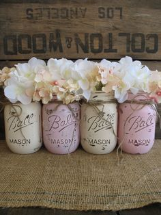 Painted Mason Jar- for white vintage do, white, rose, blue, bone, lavender, and grey
