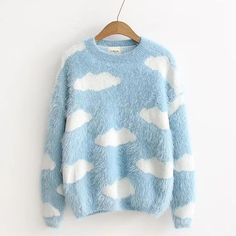Cloud Patterned Furry Sweater ($30) ❤ liked on Polyvore featuring tops, sweaters, blue top, cotton sweaters, blue sweater and blue cotton sweater