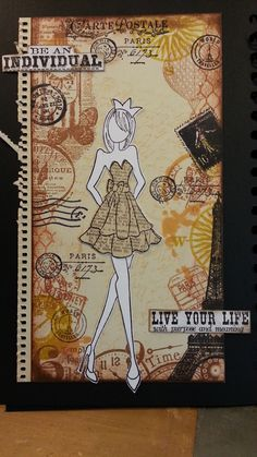 collage background stamping - doll stamp from prima - text stamps from tim holtz - background stamps from several brands