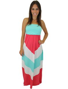 OMG.... This maxi is just AMAZING! Love the color combo and the fit is incredible. If you love chevron, you will love this dress!  	95% Rayon 	5% Spandex  Length (from shoulder to hem):  - small: 52.5 inches  - medium: 53 inches  - large: 53.5 inches  	Model is 5'4, 32 B bust, size 0/2 pants, size small top and is wearing a small size. Fits true to size. Coral, white and mint colors. Not lined.