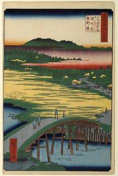 Hiroshige - One Hundred Famous Views of Edo Winter 116 Sugatami Bridge, Omokage Bridge and Jariba at Takata (高田姿見のはし俤の橋砂利場 Takata Sugatami no hashi Omokage no hashi Jariba?)Kanda River, Omokage Bridge, Hikawa rice field, Hikawa Shrine, Sugatami BridgeNotable for striking colors; Tokugawa Iesada crossed the Omokage Bridge in the publication month1857 / 1Takada, Toshima