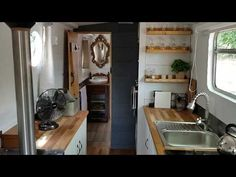 The Boutique Narrowboat – Lesley Ann Sleeps 2 This canal boat is one-of-a-kind. She contains all the modern luxuries you would expect from a boutique holiday escape and is designed with couples in mind. Small Space Living, Small Spaces, Canal Boat Interior, Narrowboat Interiors, Small Sailboats, Boat Decor, Boat Design, Modern Luxury, Storage Solutions