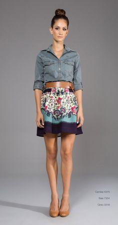 Denim top with flirty skirt