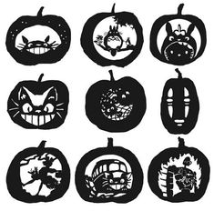 Will this year's Pumpkin feature Totoro? Ideas for ghibli-themed pumpkins. Pumpkin Template, Pumpkin Carving Templates, Miyazaki, Halloween Pumpkins, Halloween Crafts, Halloween Stuff, Pumpkin Stencil, Pumpkin Art, Pumpkin Ideas