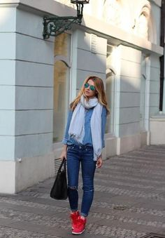 Double denim + red kicks = springtime cool.   Read more: http://www.stylecaster.com/spring-outfit-ideas/#ixzz2yDuQPTpR