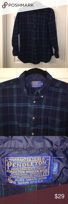 Vintage PENDLETON Wool Plaid Button Down Shirt L Great vintage shirt made by PENDLETON, tagged L Tall, but does seem to run a little small and may be closer to a M, used condition😃happy poshing friends! Pendleton Shirts Casual Button Down Shirts