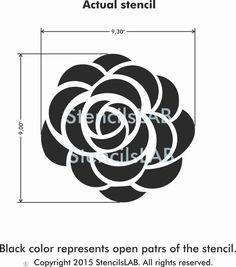 Pequeña flor de Rosa de la plantilla 11 x 11 por StencilsLabNY