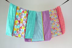 Baby Burp Cloth Gift Set of 3, Colorful Pinwheels by owesley on Etsy
