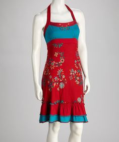 Take a look at this Red Floral Ruffle Dress by Coline USA on #zulily today!