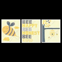 Bumble Bee Nursery Art Print Set 8x10 Kids Room By RockabyeKids