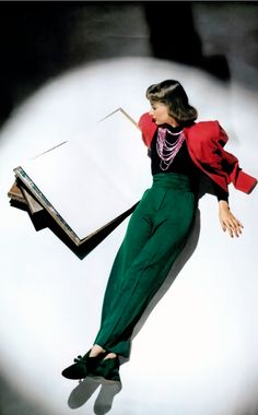 Photo John Rawlings, Jan. 1943, Vogue. 40s casual day wear designer pants slacks…