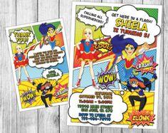 Dc Superhero Girls Invitation Dc Superhero by ColorPOPinvites