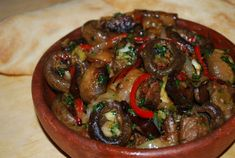 Georgian Coriander and Bay Leaf-scented Beef and Mushrooms with Spicy Roasted Pepper Paste,
