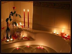 Bathroom Special Valentine Day Romantic Ideas With Sparkling Wine And Candle Lighting Featuring Red Rose Flowers Also White Bathtub Ceramic