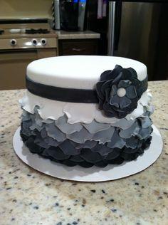 Ombre white, gray, & black ruffle cake