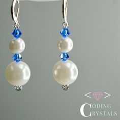 """Perl Script"" pearl drop earrings"