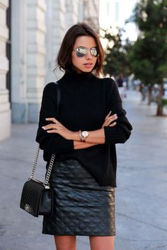 Fashion Winter Style - Black Skirt, Black Turtleneck Sweater, Cool Handbag and even Cooler Sunglasses. See More On http://www.thequirkybits.com/.