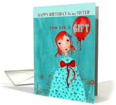 christian happy birthday to my sister cute girl with balloon orange turquoise card