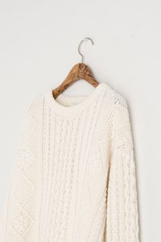 Daisy Cable Round Jumper, Ivory