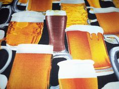 Beer Beer And More Beer Fabric Great Man Cave Fat Quarter New BTFQ