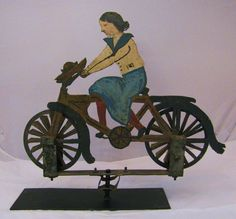 Antique Folk Art Painted Tin Bicycle Rider Whirligig #bicycles, #bicycle, #pinsland, https://apps.facebook.com/yangutu