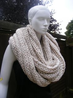chunky knit scarf oatmeal infinity scarf: winter shawl, womens scarves