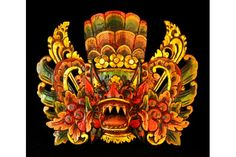 Small Barong Ket Indonesian Mask, Red by Made Lendeh | World Tribal Masks $105.00