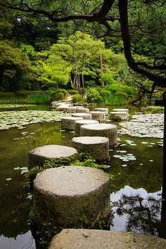 Stepping stone of gardens at Heian Shrine, Kyoto, Japan