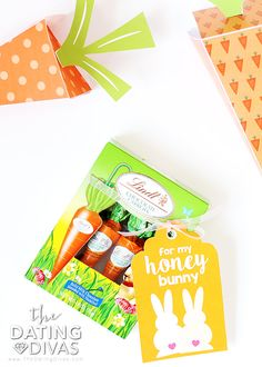 """Let your sweetie know """"some bunny loves you"""" this Easter! Create a care package or basket filled with yummy treat carrots! Your honey bunny will love it! Lindt Gold Bunny, Lindt Chocolate, Some Bunny Loves You, Honey Bunny, Dating Divas, Easter Celebration, Egg Decorating, Love Notes, Easter Baskets"""