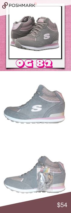 "Skechers Originals Women's Retros OG 82 Sneakers ✔These Skechers Originals Women's Retro OG 82 Mesh'd Up Classy Kicks Fashion Sneakers are the perfect throw-back shoes with a modern twist.  ✔Mid-top silhouette. Lace-up closure. Lightly padded tongue & collar. Smooth fabric lining. Air-Cooled Memory Foam insole. Jogger-style midsole absorbs impacting shock. ✔Textile & leather suede upper, flexible rubber traction outsole. ✔Heel Height: 2 1⁄4"" Shaft: 4 1⁄2"" ✔Size: US 10M ✔Except for tiny glue…"