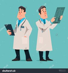 Cartoon Male Doctor Character, Test Results X-Ray, Vector Illustration, Isolated Background - 368614826 : Shutterstock
