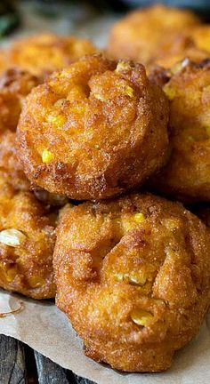 Pumpkin Corn Fritters. What a different use for pumpkin! I read the ingredients and it sounds amazing!
