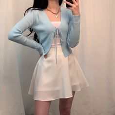 Cute Casual Outfits, Girly Outfits, Retro Outfits, Summer Outfits, Blue Skirt Outfits, Vintage Outfits, Cardigan Outfits, Teenager Outfits, Grunge Outfits