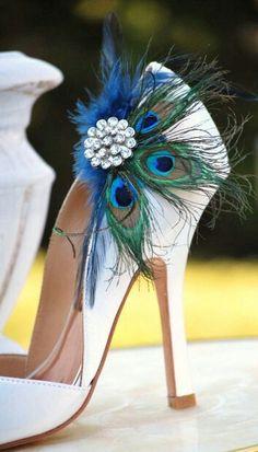 Shoe Clips Peacock & Navy Fan. Bride Bridal Bridesmaid, Birthday Engagement…