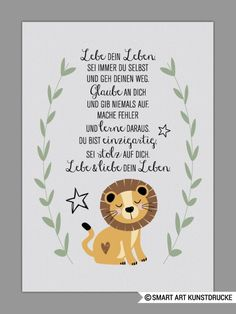 The indicated price Euro) is for a DIN size. If you prefer DI The indicated price Euro) is for a DIN size. If you prefer DI Baby Zimmer, Lion Art, Smart Art, Quotes For Kids, Baby Cards, Artwork Prints, Kids And Parenting, Diy For Kids, Baby Room