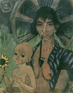 Otto Mueller ~ Zigeunermadonna ~ ca. 1926 ~ Olieverf op doek ~ 87 x cm. Paul Cezanne, Ex Libris, Claude Monet, Karl Schmidt Rottluff, Alberto Giacometti, Grand Palais, Vintage Artwork, Henri Matisse, Vincent Van Gogh
