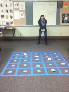**Can see this as a review game for mutual following the Sunday lesson. Connect four. I made a grid with painters tape on the floor. Then I put S.M. Clues on the back of sticky notes and put them face down in the squares. A team tosses their color bean bag on the square and then has 15 seconds to find the scripture. If they fail, the other team has 15 seconds to find the passage and win the square. The first team to have 4 in a row wins
