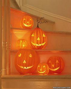 Staircase pumpkins via Martha Stewart.