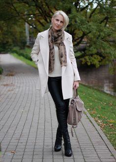 grey bag and beige coat