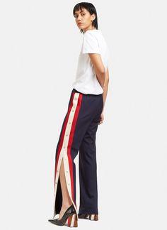 Women's Pants - Clothing | Discover Now LN-CC - Striped Popstud Seam Track Pants