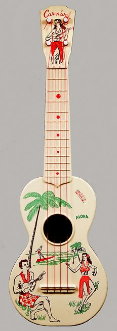 ukelele guest book  1950s toy piano -