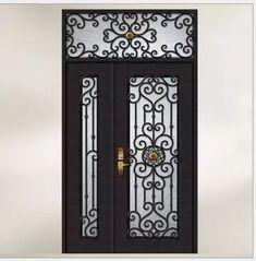 Sliding Door Design, Door Gate Design, Exterior Entry Doors, Patio Doors, Iron Front Door, Front Doors, Grill Door Design, Wrought Iron Doors, Aluminium Doors