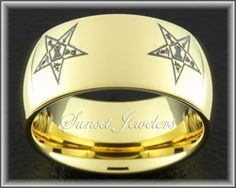 Freemason Gold Tungsten Carbide Ring Eastern Star Emblem, Masonic bands.  Free Inside Engraving.