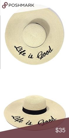 """Life is good"" Floppy Beach Hat Brand new! Super cute!   15% off for bundle purchases of 2 or more items! Purchasing 7 or more items? Please make an offer for 20% off of your bundle with the bundle offer feature and I will accept.  FEEL LIKE MAKING AN OFFER? Please do it through the make an offer feature as I will no longer negotiate prices in the comments section.   PRICE IS FINAL ON ITEMS $15 or less unless bundled. Hannah Beury Accessories Hats"