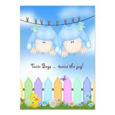Twin Baby Boy Shower Card