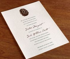 Aspen: This invitation would be perfect for Sita and Kate's outdoor wedding. Change the ink colors and text to suit the occasion.