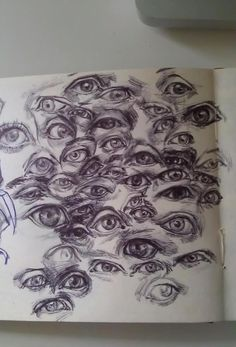 janeisrad: Sketchbook page of eyeballs. Thinking about the lid wrapping around the eye and folding under the brow - so many different ways!